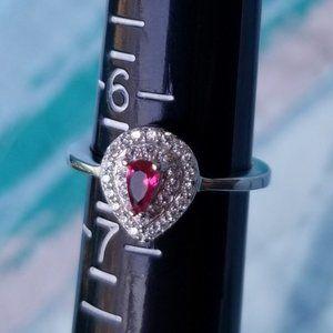 Ruby & White Topaz .925 Sterling Silver Ring 6.5